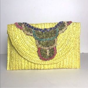 Shiraleah Bags - Shiraleah Beaded straw jute boho resort clutch